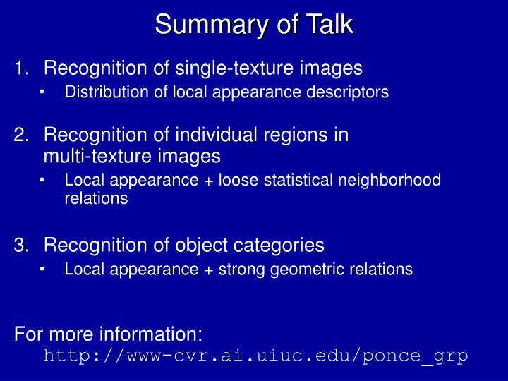 Summary of Talk