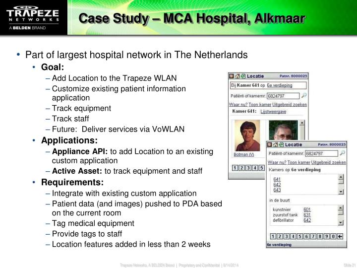 Case Study – MCA Hospital, Alkmaar