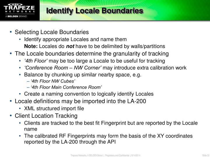 Identify Locale Boundaries