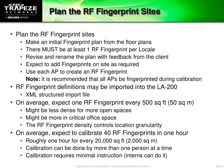 Plan the RF Fingerprint Sites