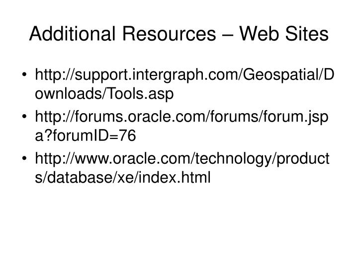 Additional Resources – Web Sites