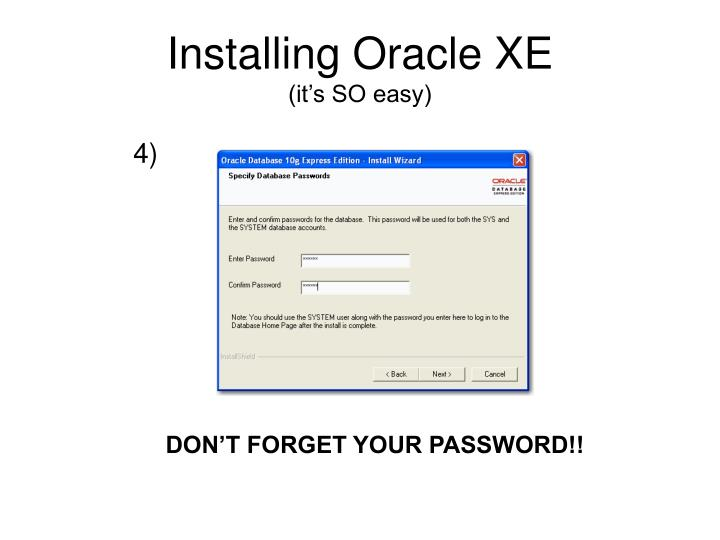 Installing Oracle XE