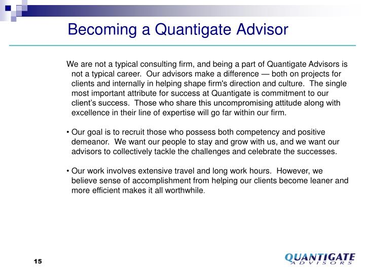 Becoming a Quantigate Advisor