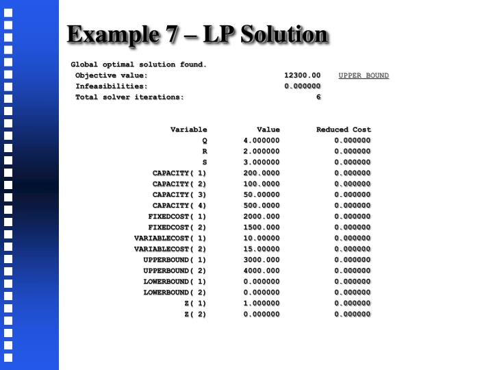 Example 7 – LP Solution