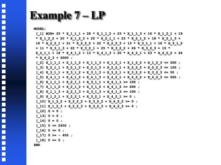 Example 7 – LP