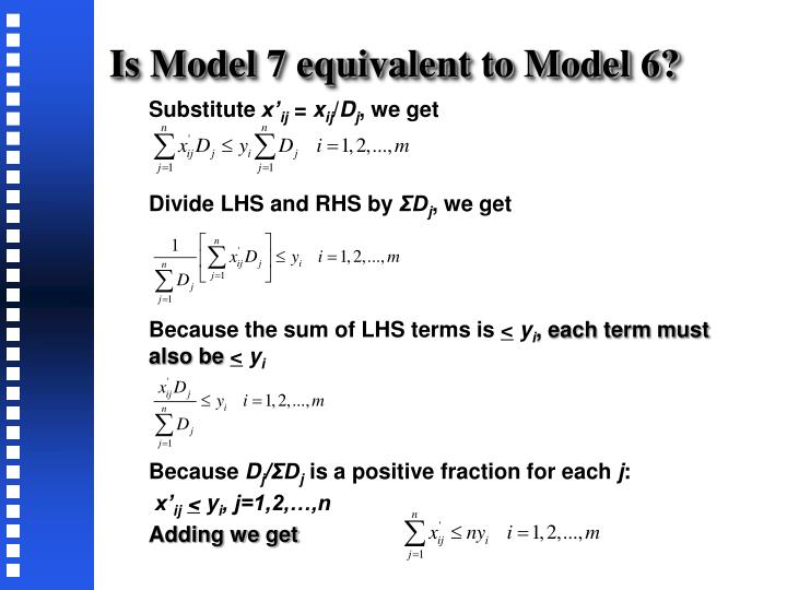 Is Model 7 equivalent to Model 6?