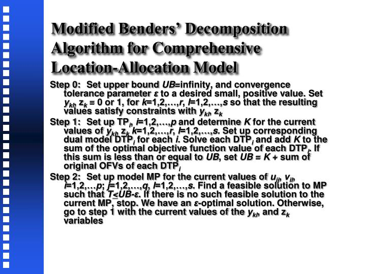 Modified Benders' Decomposition Algorithm for Comprehensive Location-Allocation Model