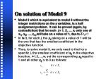 on solution of model 9