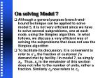 on solving model 7