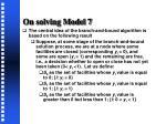 on solving model 71