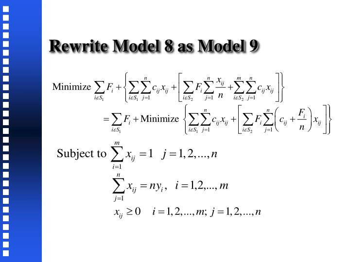 Rewrite Model 8 as Model 9