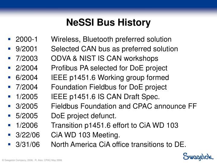 NeSSI Bus History
