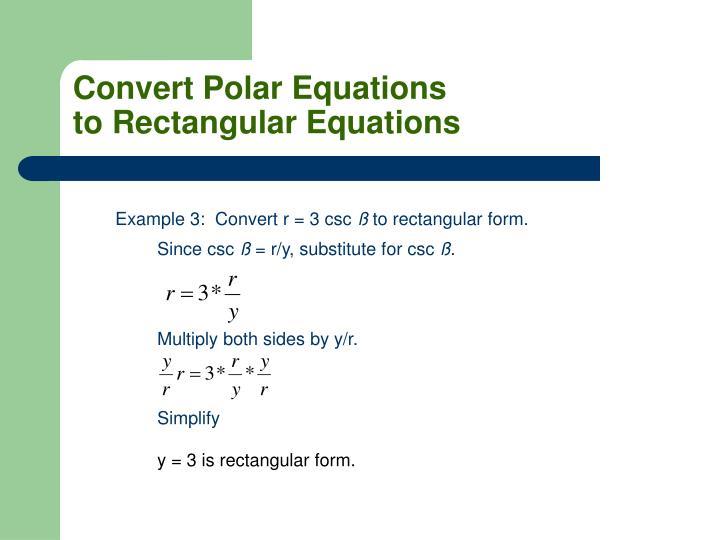Convert Polar Equations