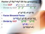 factor y 5 5y 3 4y 2 20 by grouping