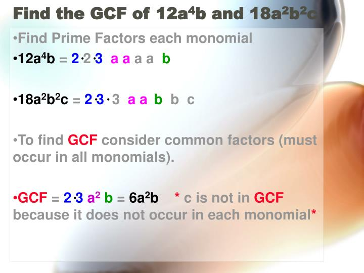 Find the GCF of 12a