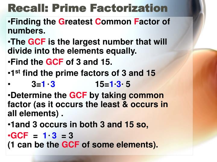 Recall: Prime Factorization