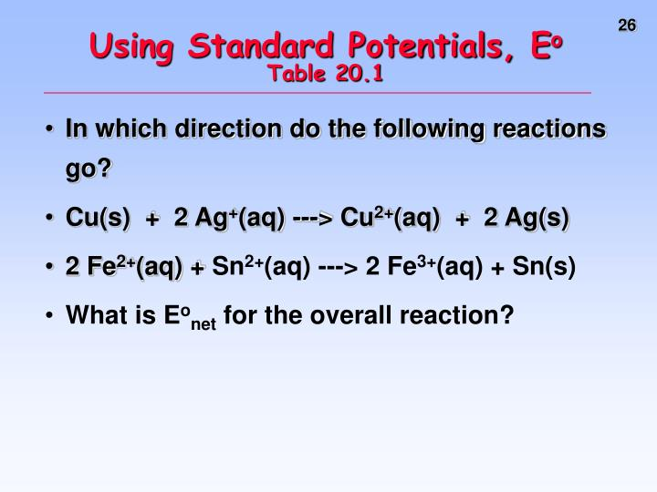 Using Standard Potentials, E