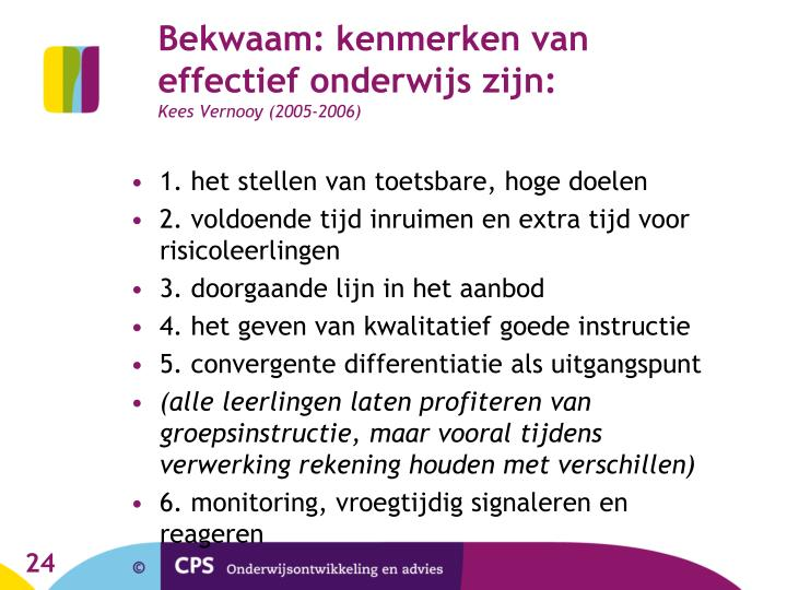 Bekwaam: kenmerken van effectief onderwijs zijn: