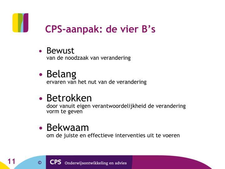 CPS-aanpak: de vier B's