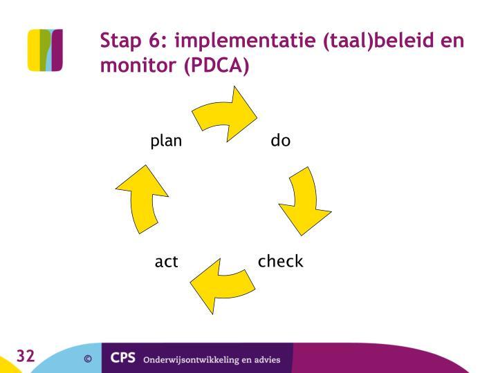 Stap 6: implementatie (taal)beleid en monitor (PDCA)