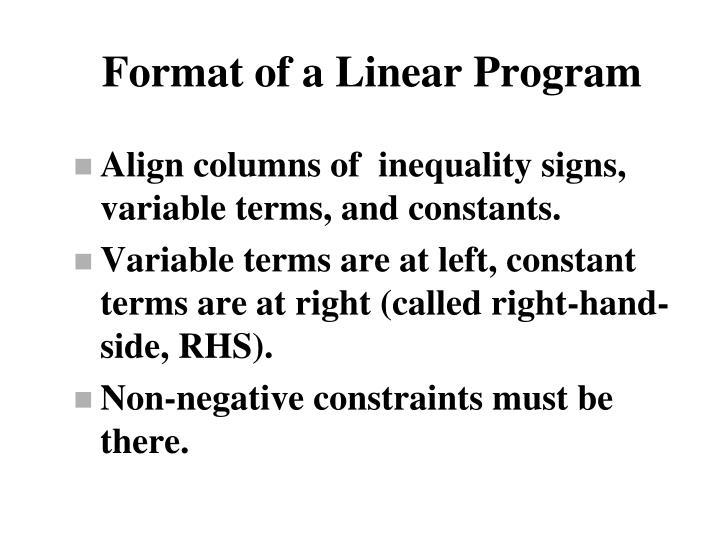 Format of a Linear Program