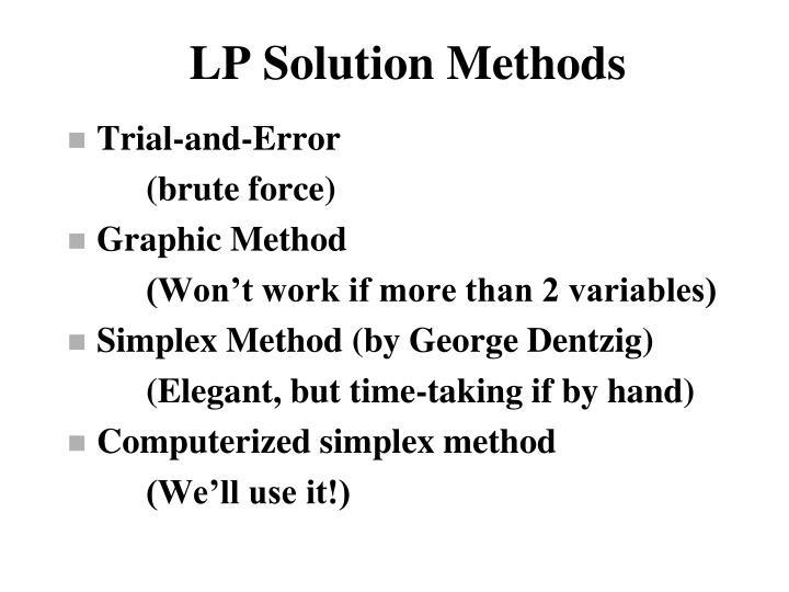 LP Solution Methods