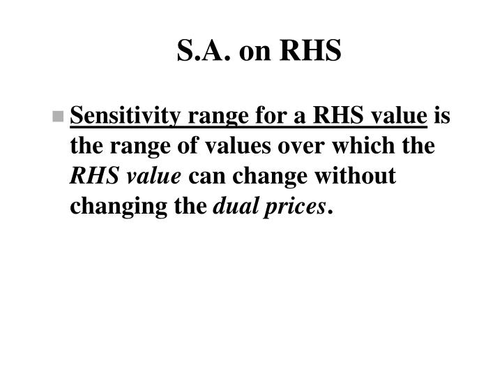 S.A. on RHS