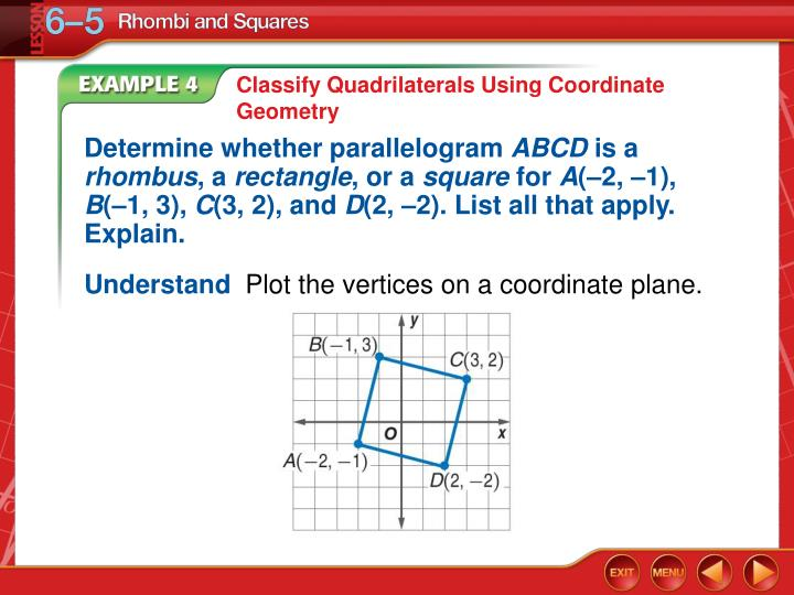 Classify Quadrilaterals Using Coordinate Geometry