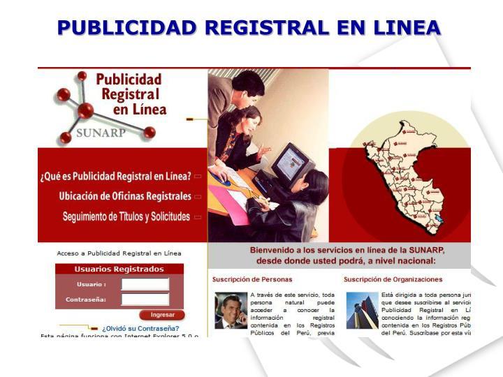 PUBLICIDAD REGISTRAL EN LINEA