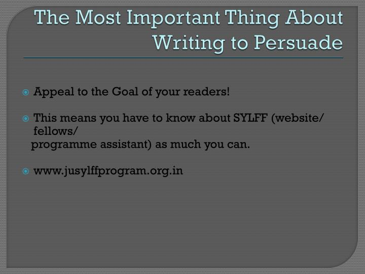 The Most Important Thing About Writing to Persuade