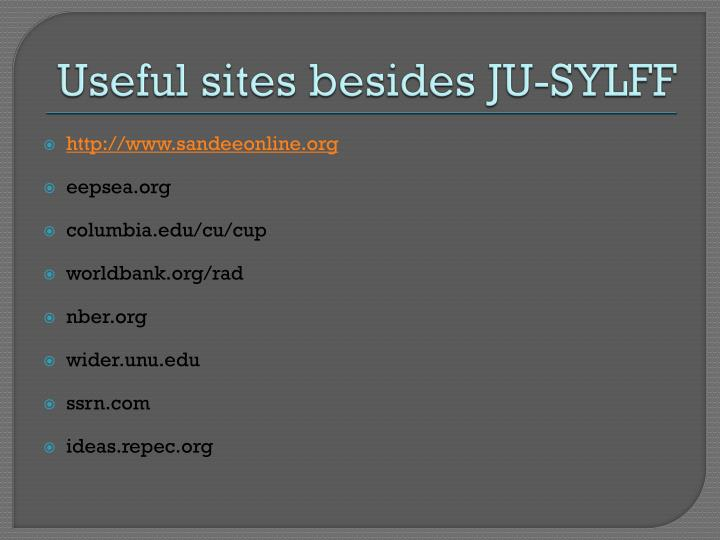 Useful sites besides JU-SYLFF