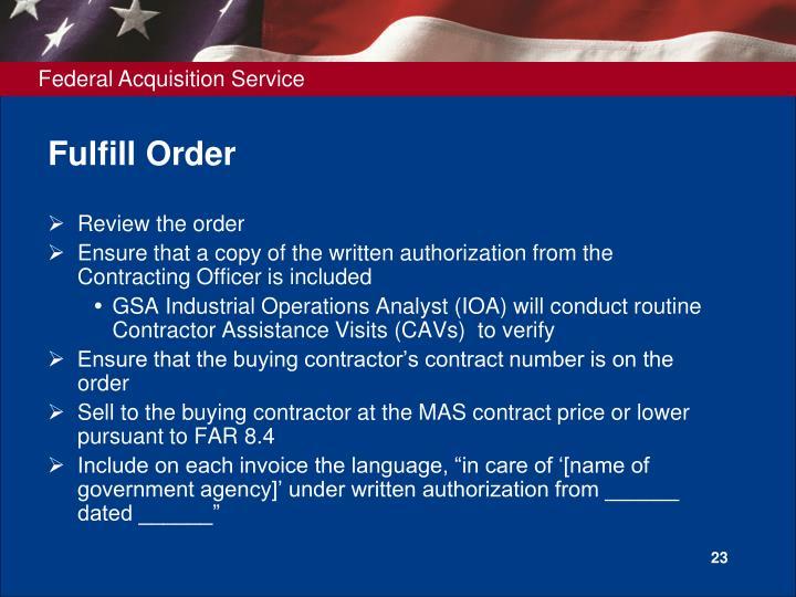 Fulfill Order