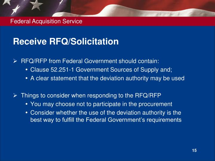 Receive RFQ/Solicitation
