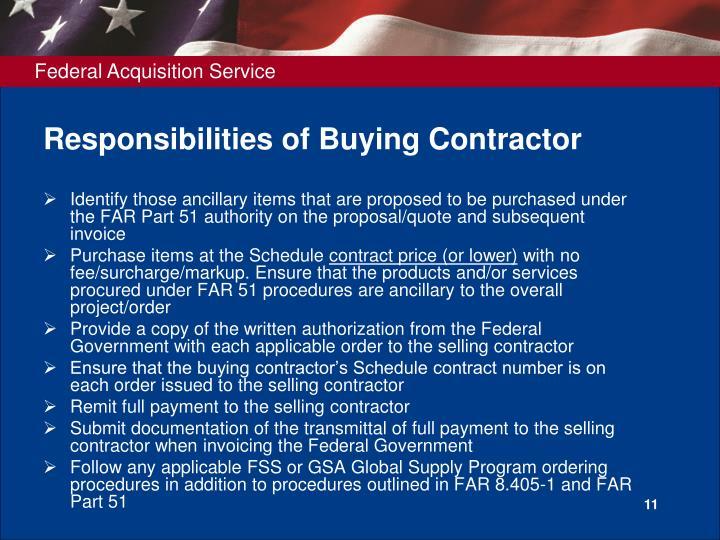 Responsibilities of Buying Contractor