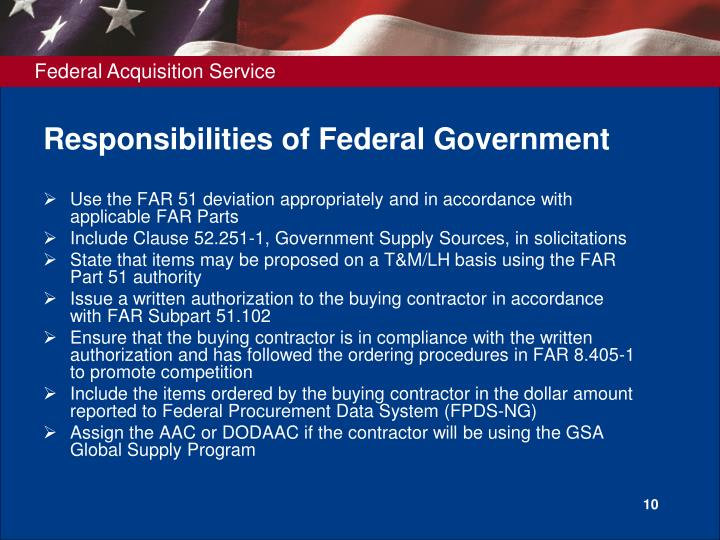 Responsibilities of Federal Government