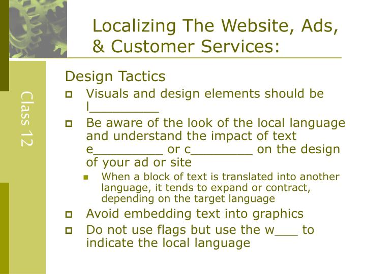 Localizing The Website, Ads, & Customer Services: