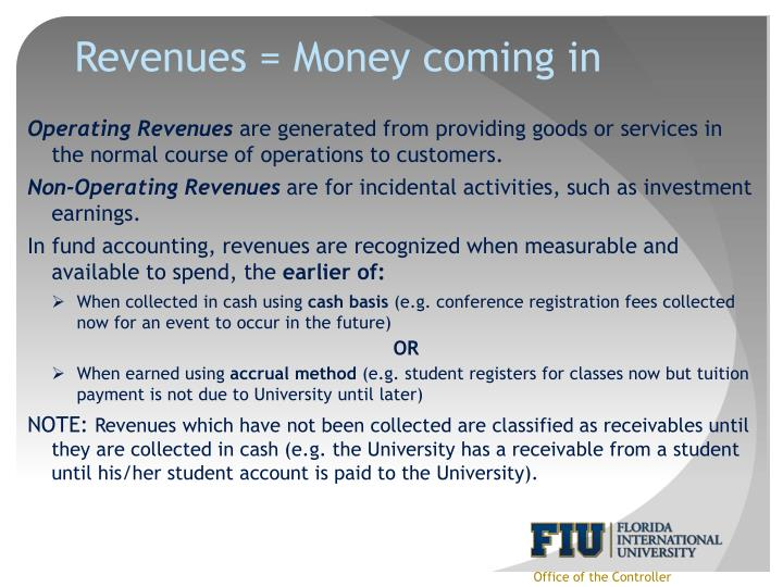 Revenues = Money coming in
