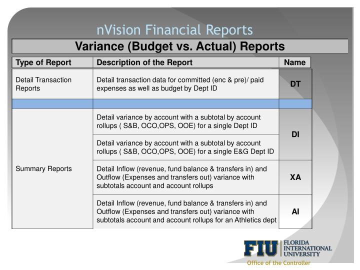 nVision Financial Reports