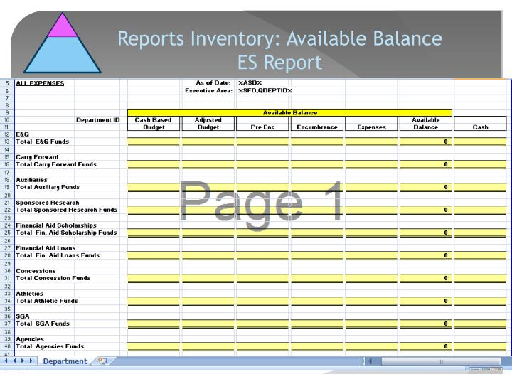 Reports Inventory: Available Balance