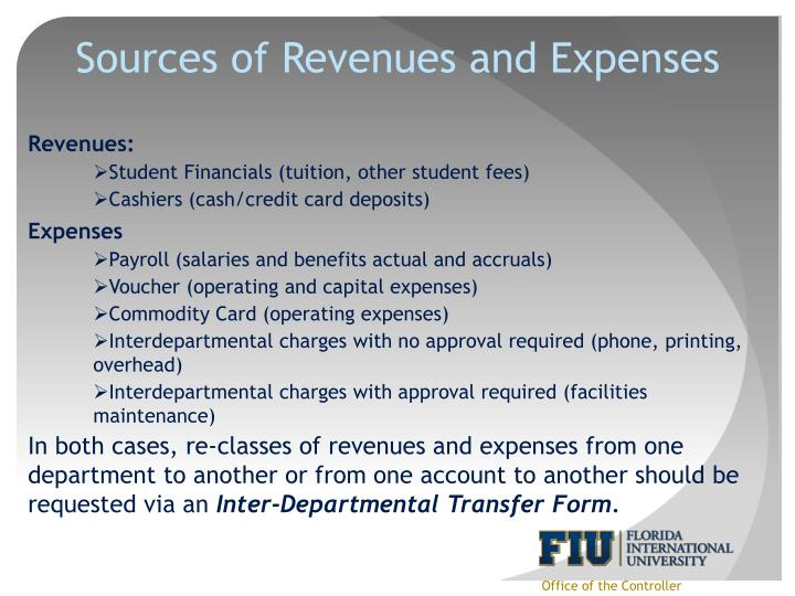 Sources of Revenues and Expenses