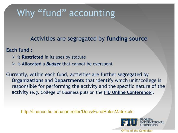 "Why ""fund"" accounting"
