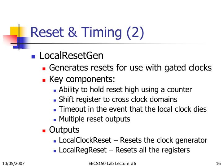 Reset & Timing (2)
