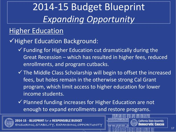 2014-15 Budget Blueprint