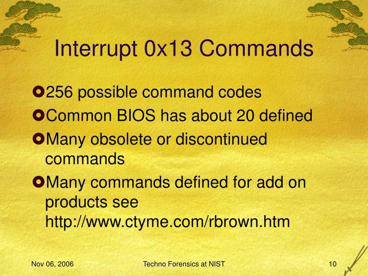 Interrupt 0x13 Commands