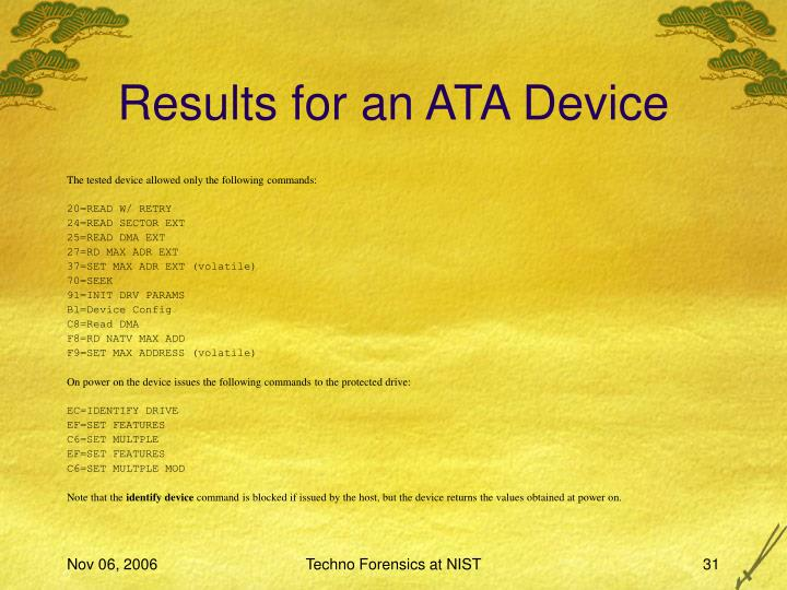Results for an ATA Device