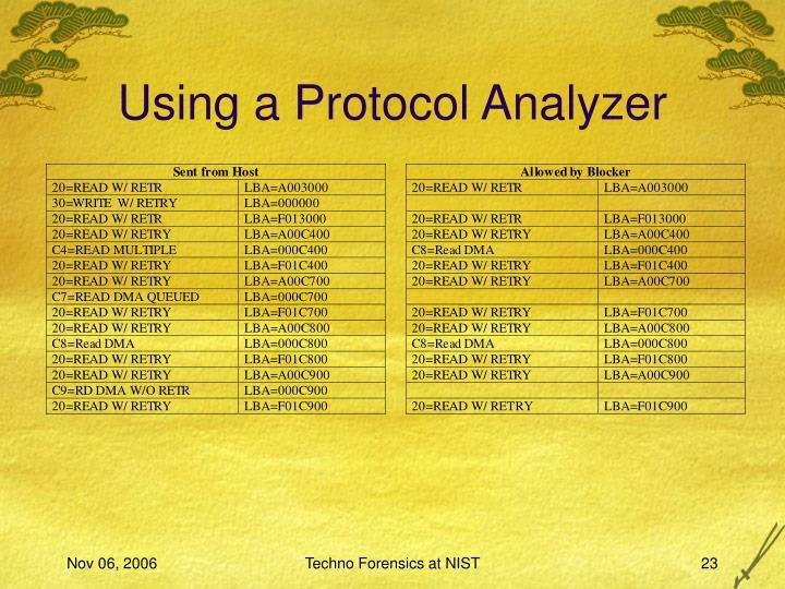 Using a Protocol Analyzer