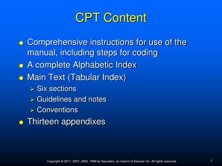 CPT Content