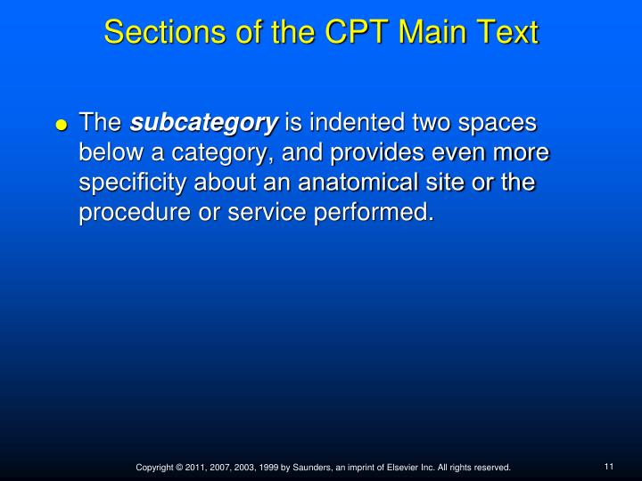 Sections of the CPT Main Text