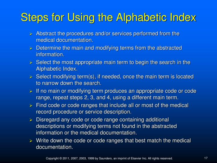 Steps for Using the Alphabetic Index
