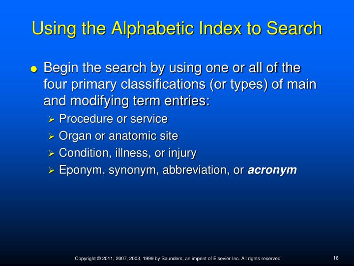 Using the Alphabetic Index to Search